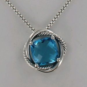 David Yurman 14mm Blue Topaz Infinity Necklace